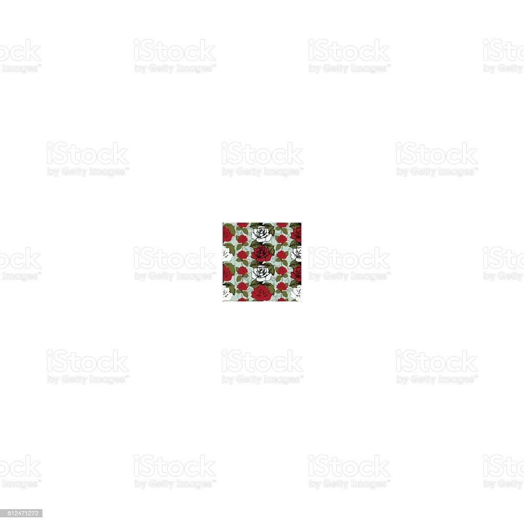 Seamless pattern of flowers roses. Red and white roses royalty-free stock vector art