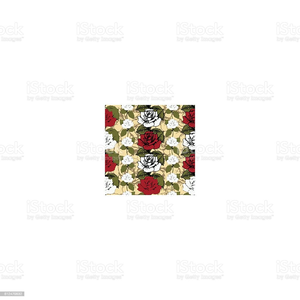 Seamless pattern of flowers roses. Red and white roses Woven royalty-free stock vector art