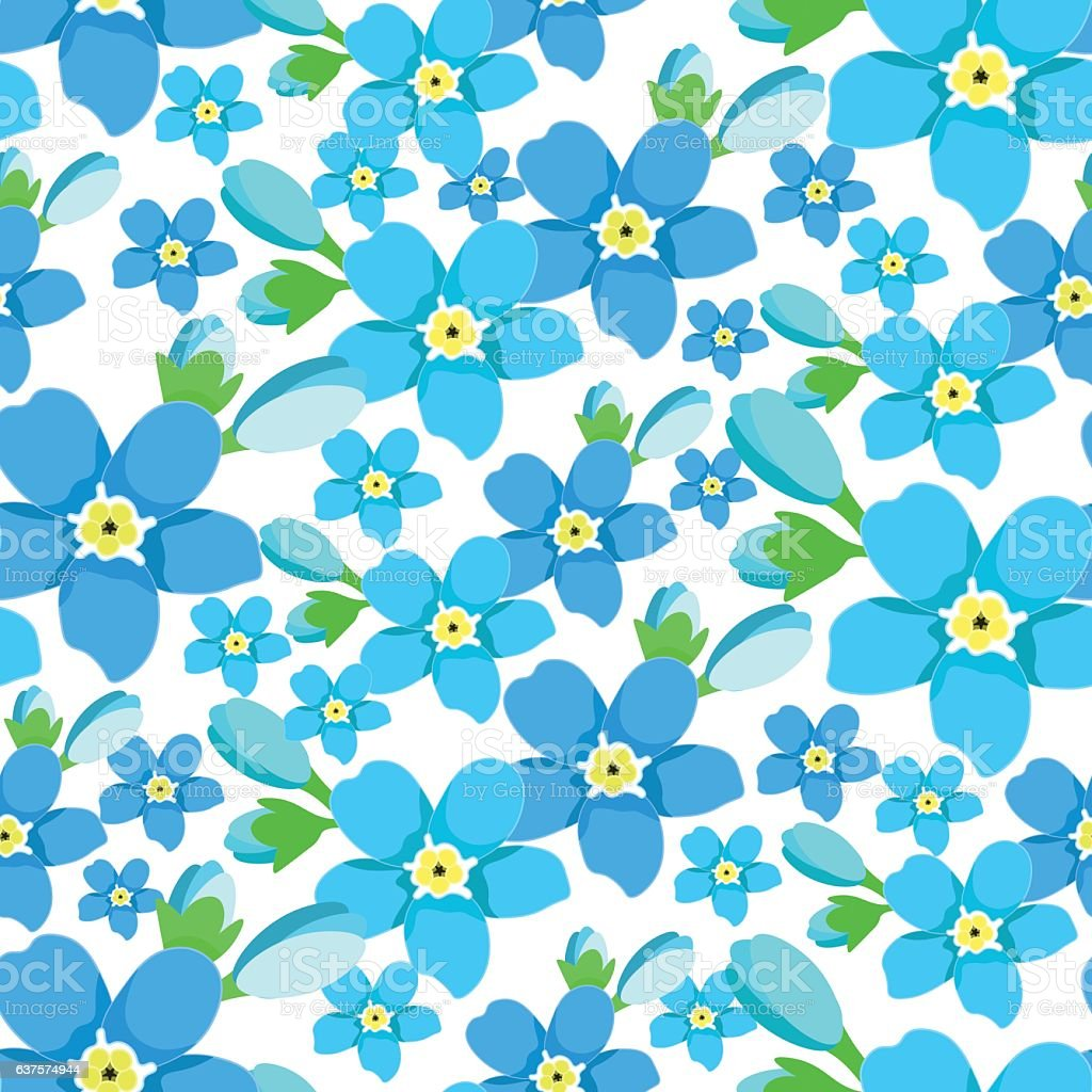seamless pattern  of forget-me-alpine a wild flower  vector illu vector art illustration
