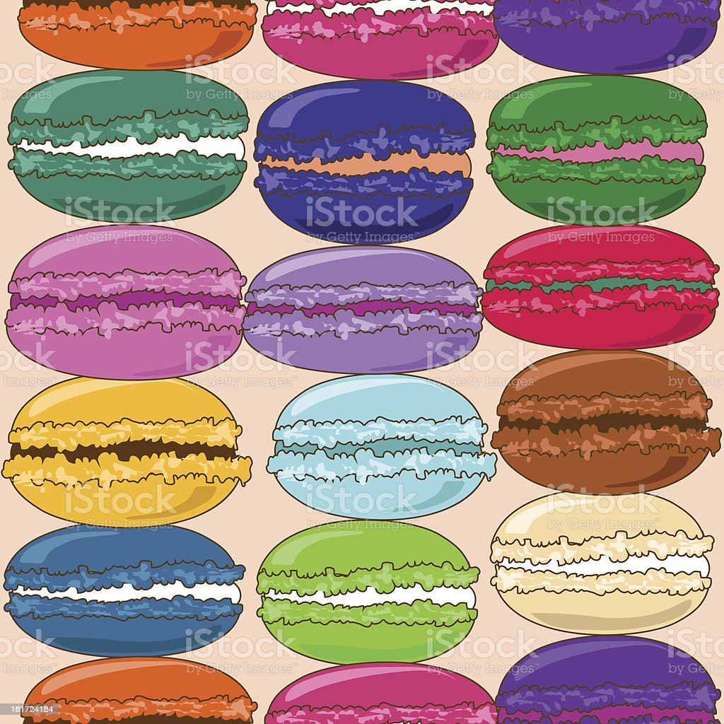 Seamless pattern of French macaroons royalty-free stock vector art
