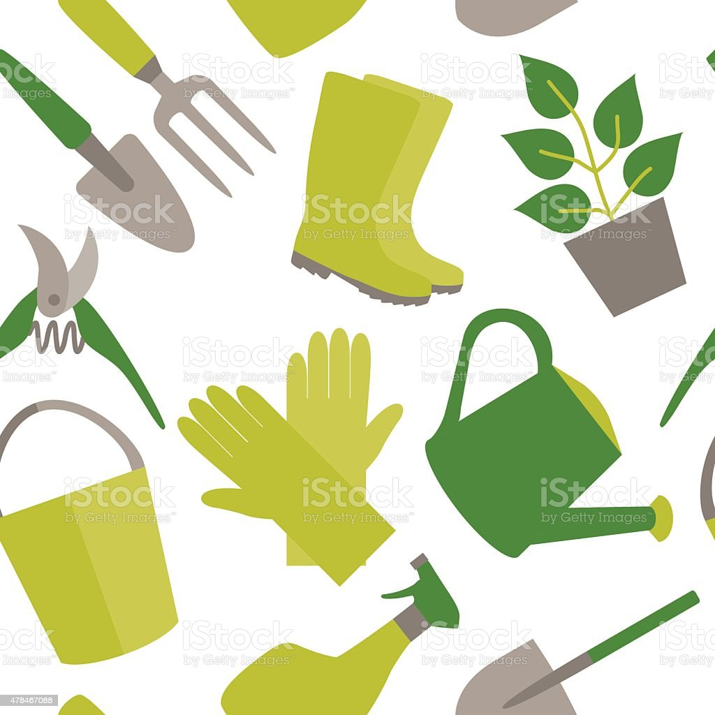 Seamless pattern of gardening tools vector art illustration