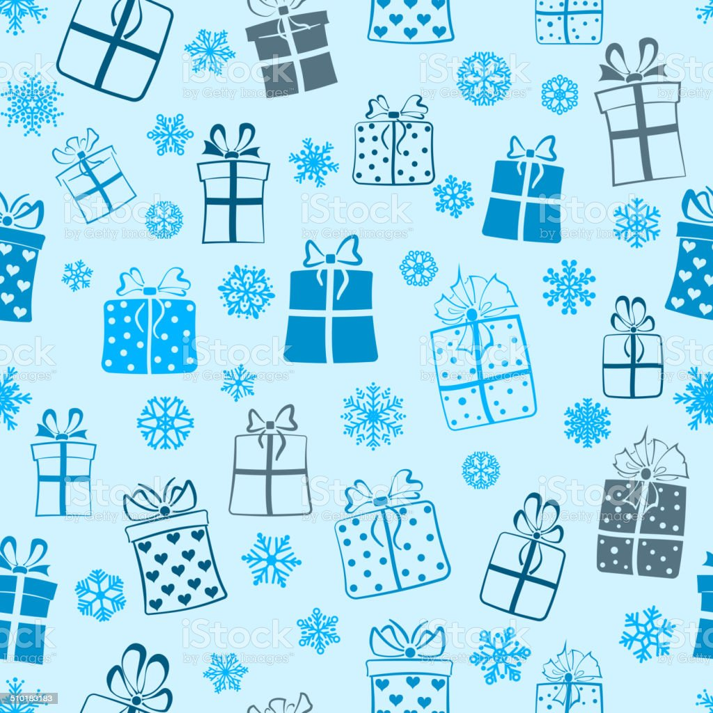 Seamless pattern of gift boxes vector art illustration