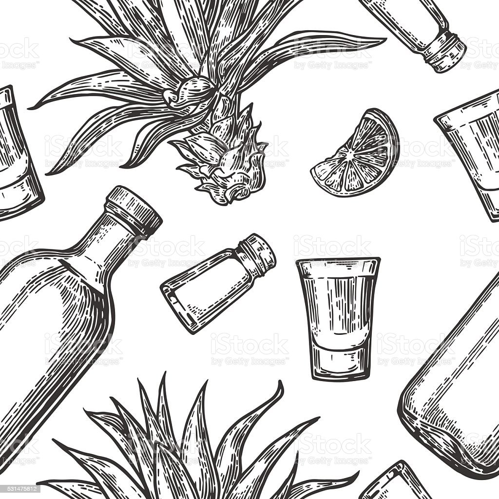 Seamless pattern of glass bottle, tequila, salt, cactus and lime vector art illustration
