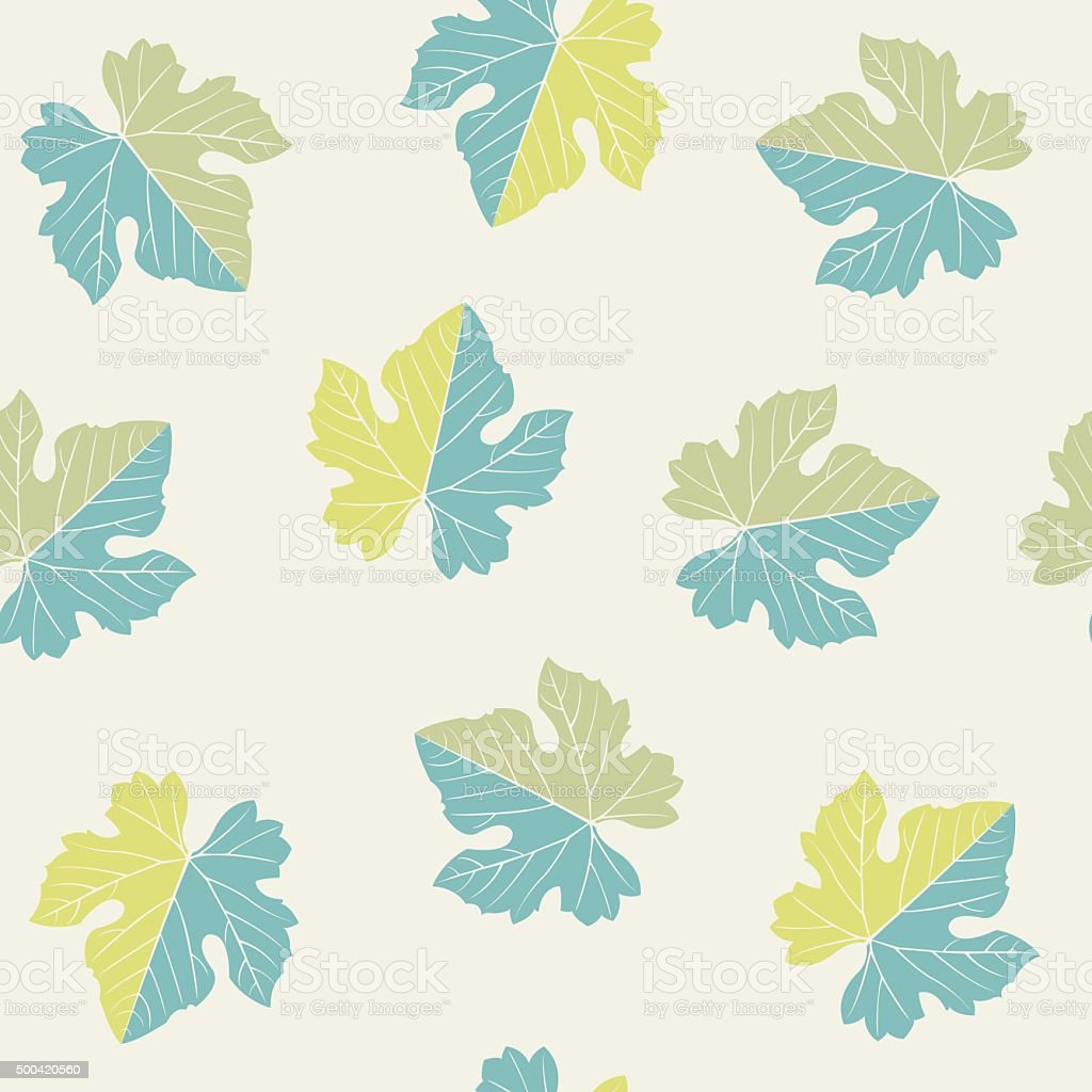 seamless pattern of  grape leaves royalty-free stock vector art
