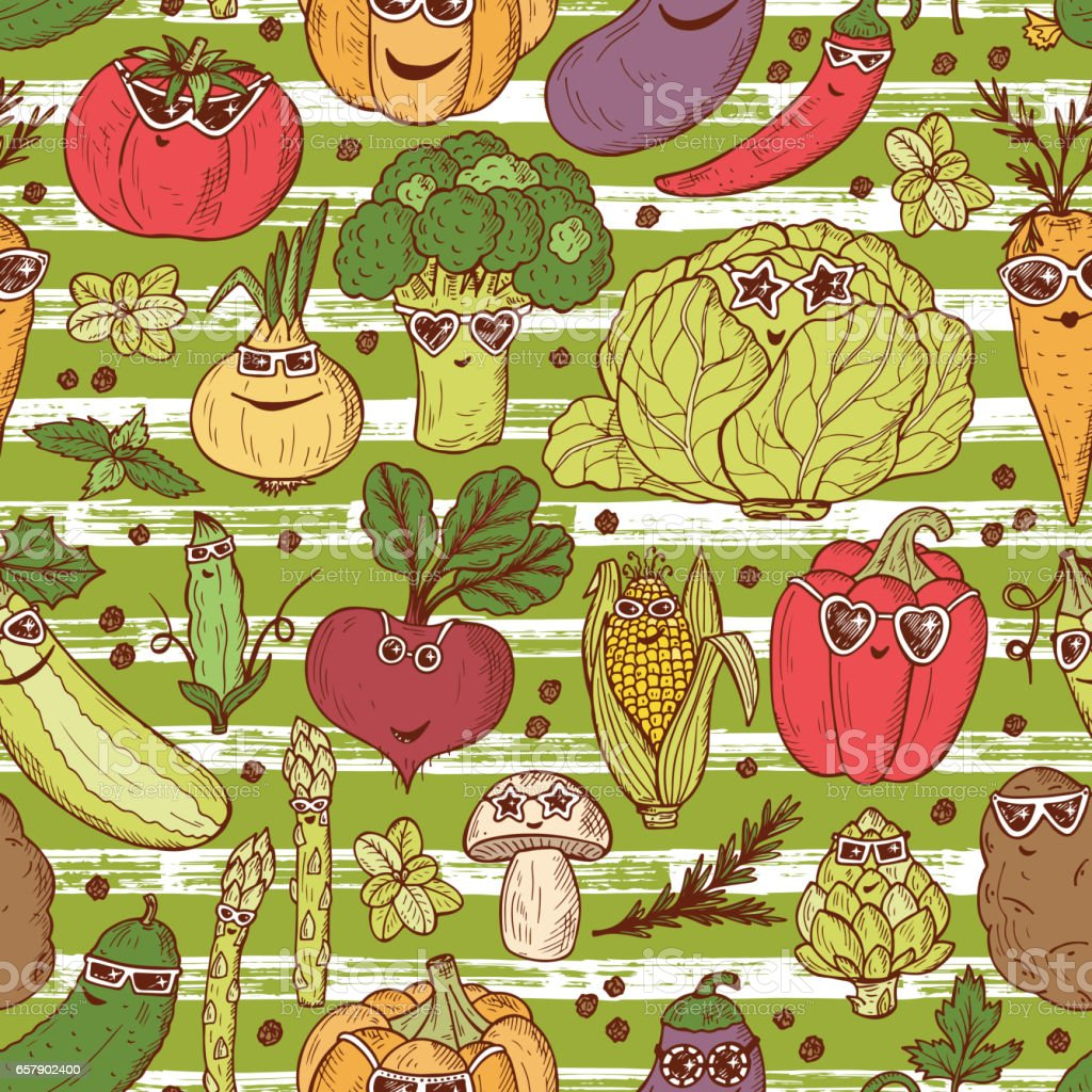 Seamless pattern of Hand drawn doodle Funny Stylish Fashion Vegetables with Sunglasses vector art illustration