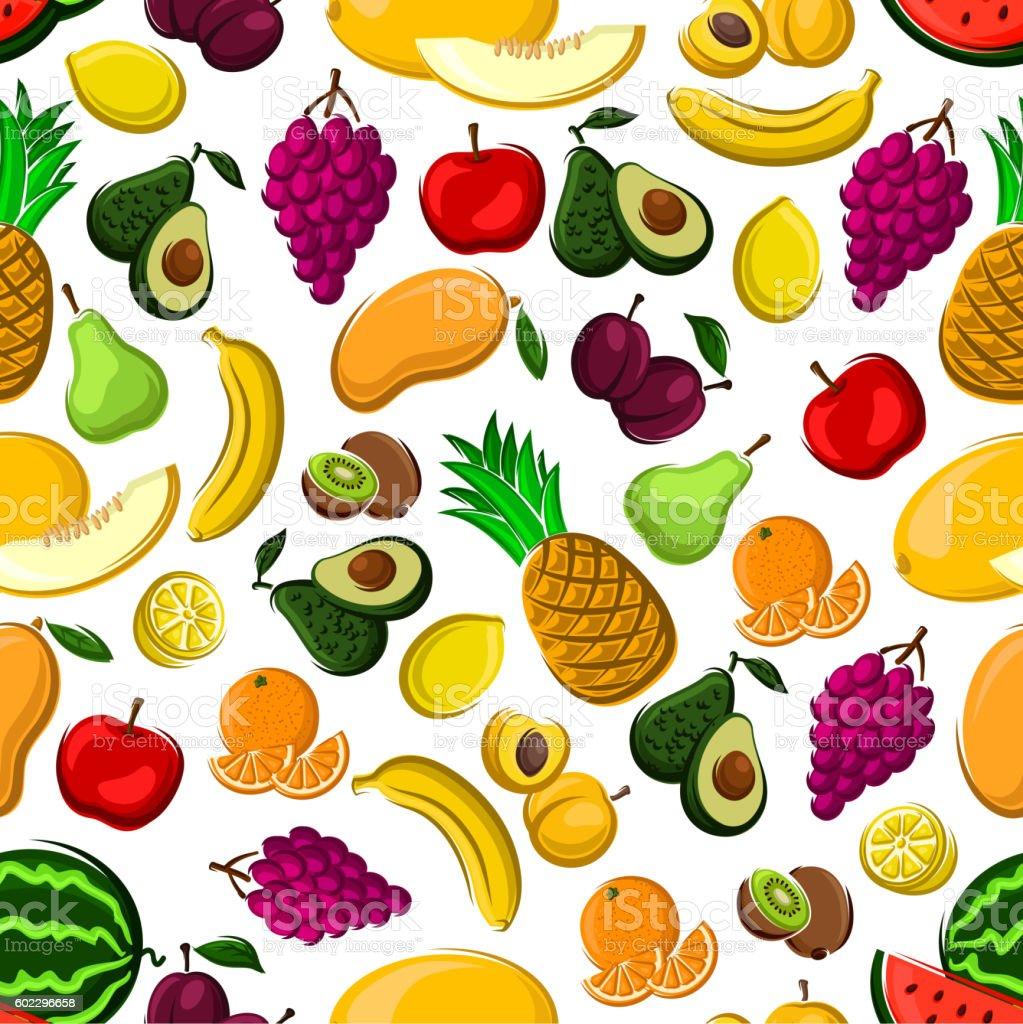Seamless pattern of healthy fresh fruits vector art illustration