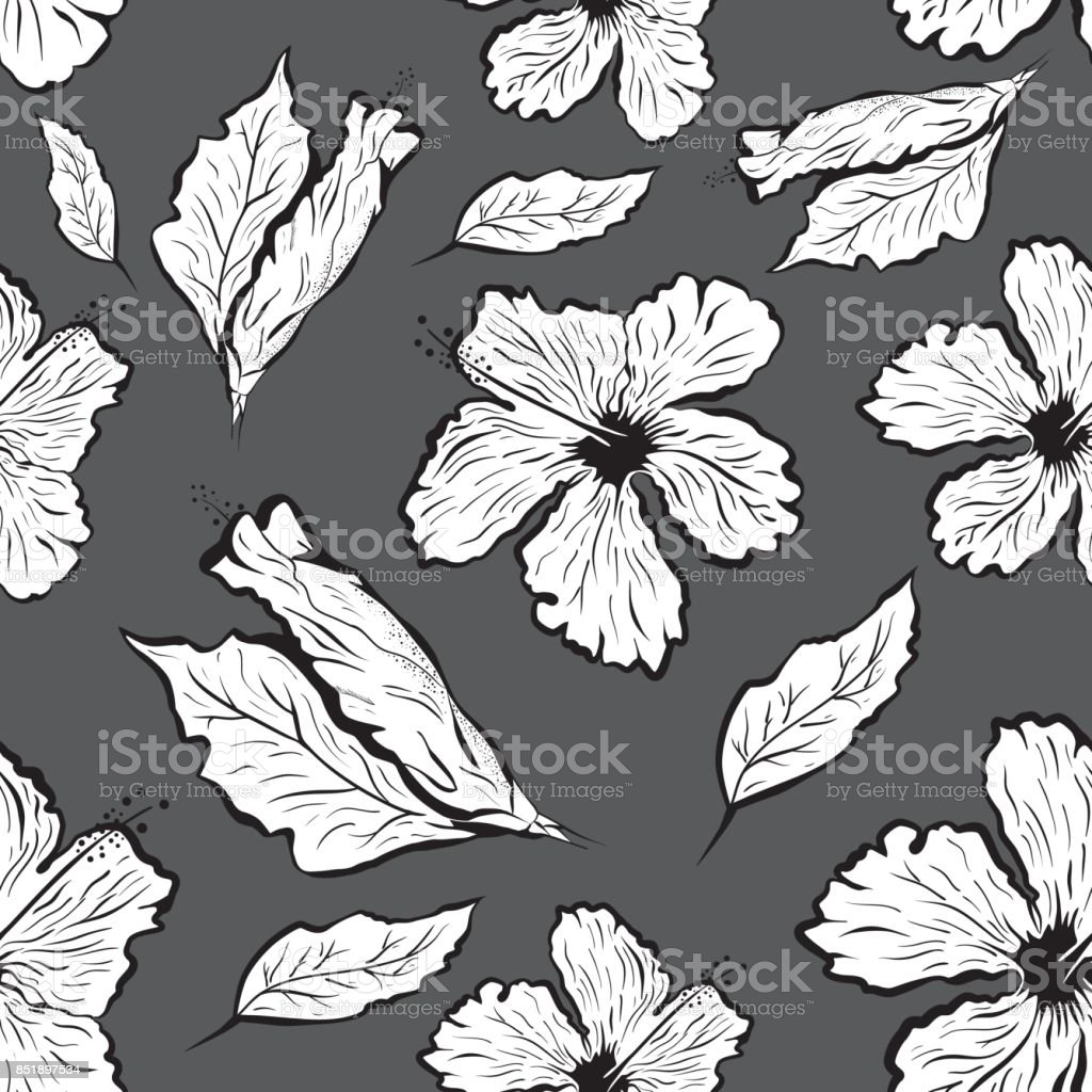 Seamless pattern of Hibiscus flower in tattoo style. Black and white, graphic tropical flower vector art illustration