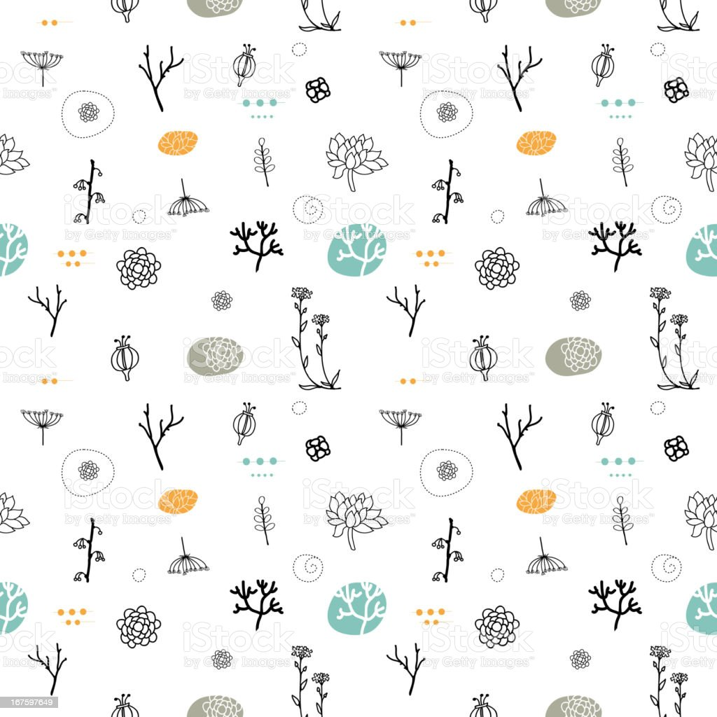 Seamless pattern of illustrated branches and plants vector art illustration