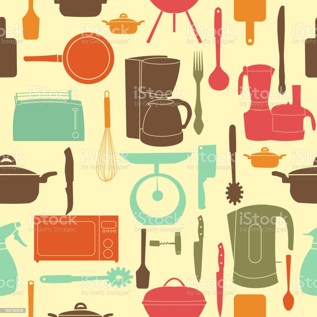 Seamless pattern of kitchen tools for cooking royalty-free stock vector art