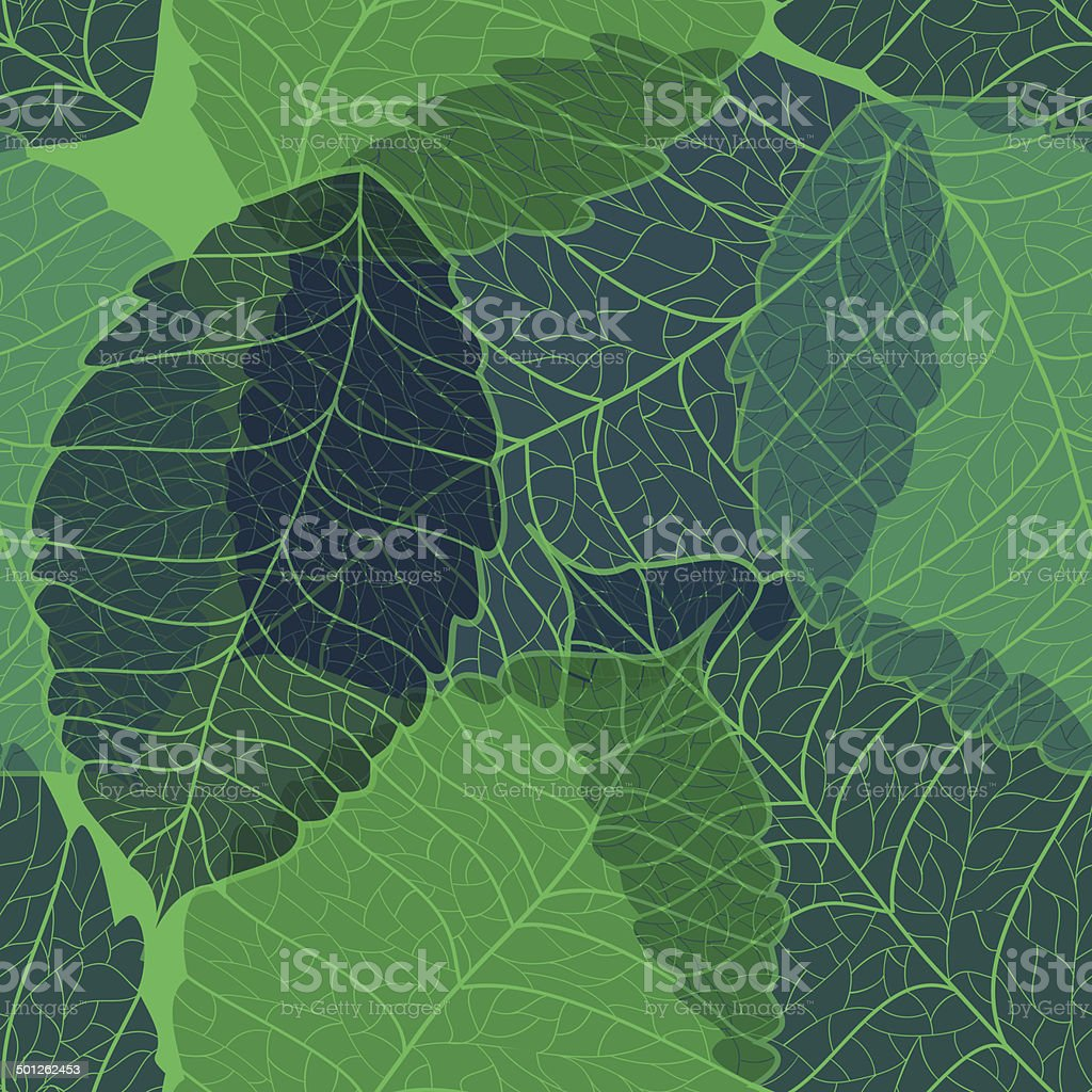 Seamless pattern of leaves royalty-free stock vector art