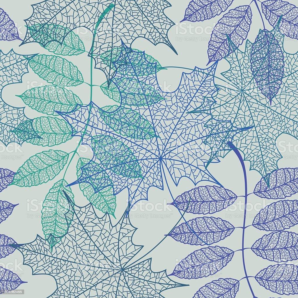 Seamless pattern of leaves vector art illustration