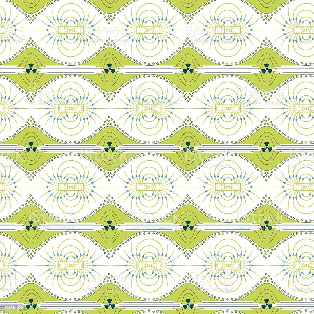 Seamless pattern of magnetic field vector art illustration