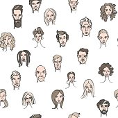 Seamless pattern of male and female doodle hand drawn portraits