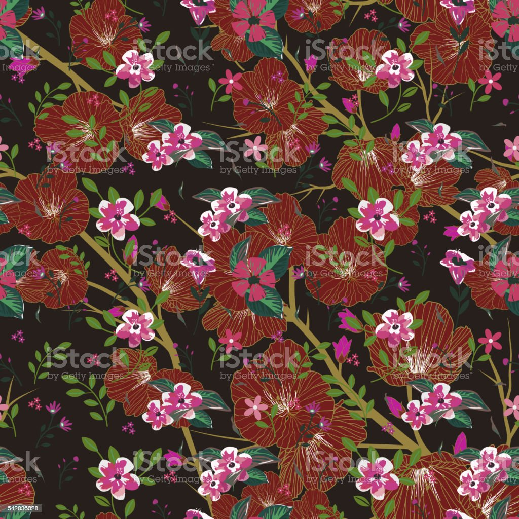 Seamless pattern of mixed flowers vector art illustration