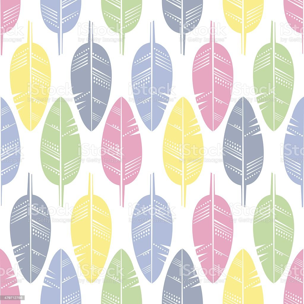 Seamless Pattern of Multicolored Feathers for Modern Wallpaper vector art illustration