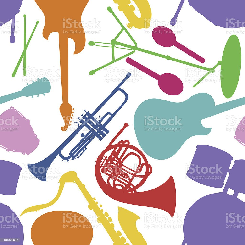 Seamless pattern of musical instruments royalty-free stock vector art