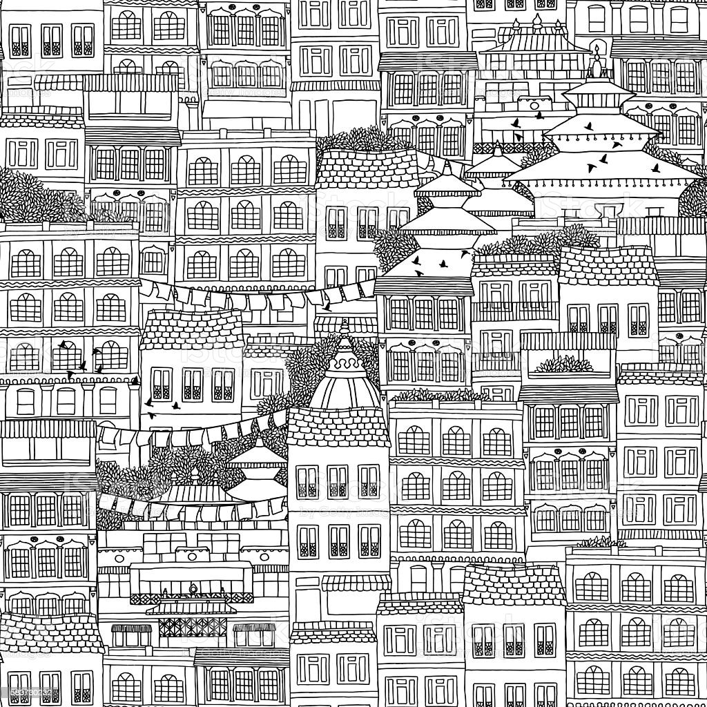 Seamless pattern of Nepalese style houses vector art illustration