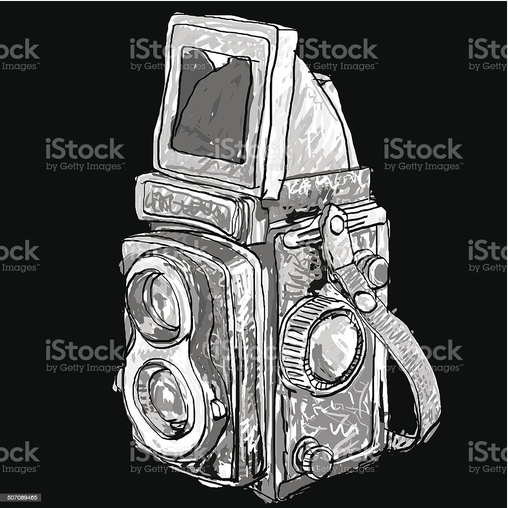 Seamless pattern of old twin lens reflex camera royalty-free stock vector art