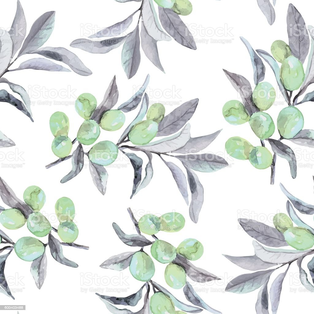 Seamless pattern of olive branch in watercolor. Vector. vector art illustration