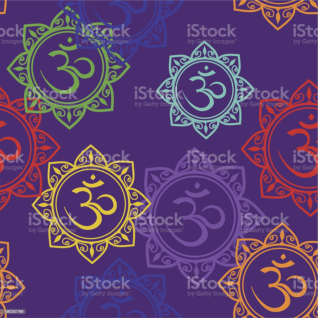 Seamless pattern of Om signs royalty-free stock vector art