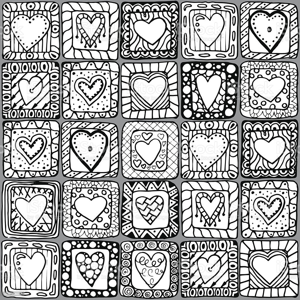 Seamless pattern of original doodle hearts. vector art illustration