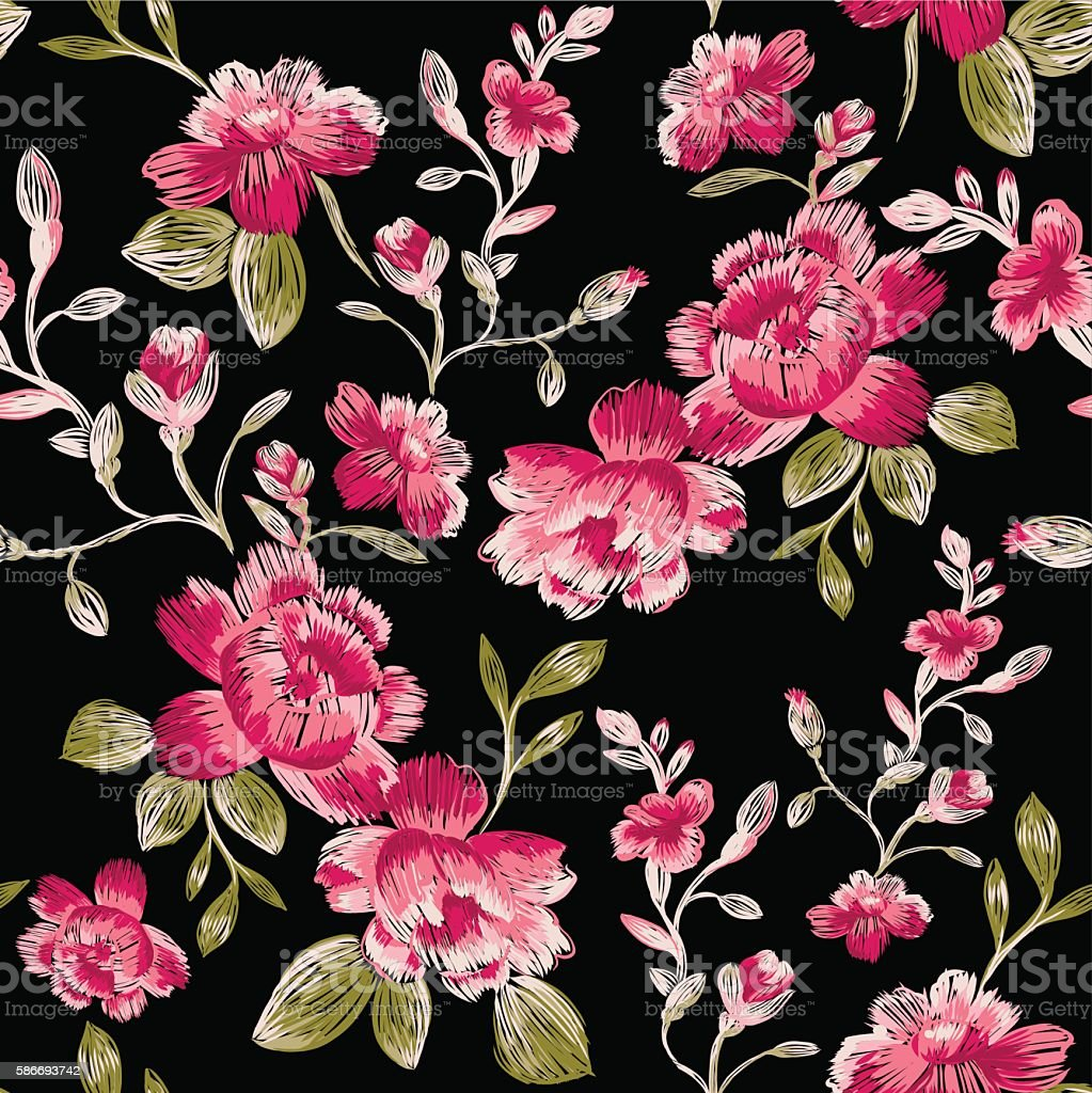 Seamless pattern of peonies. Immitation embroidery. vector art illustration