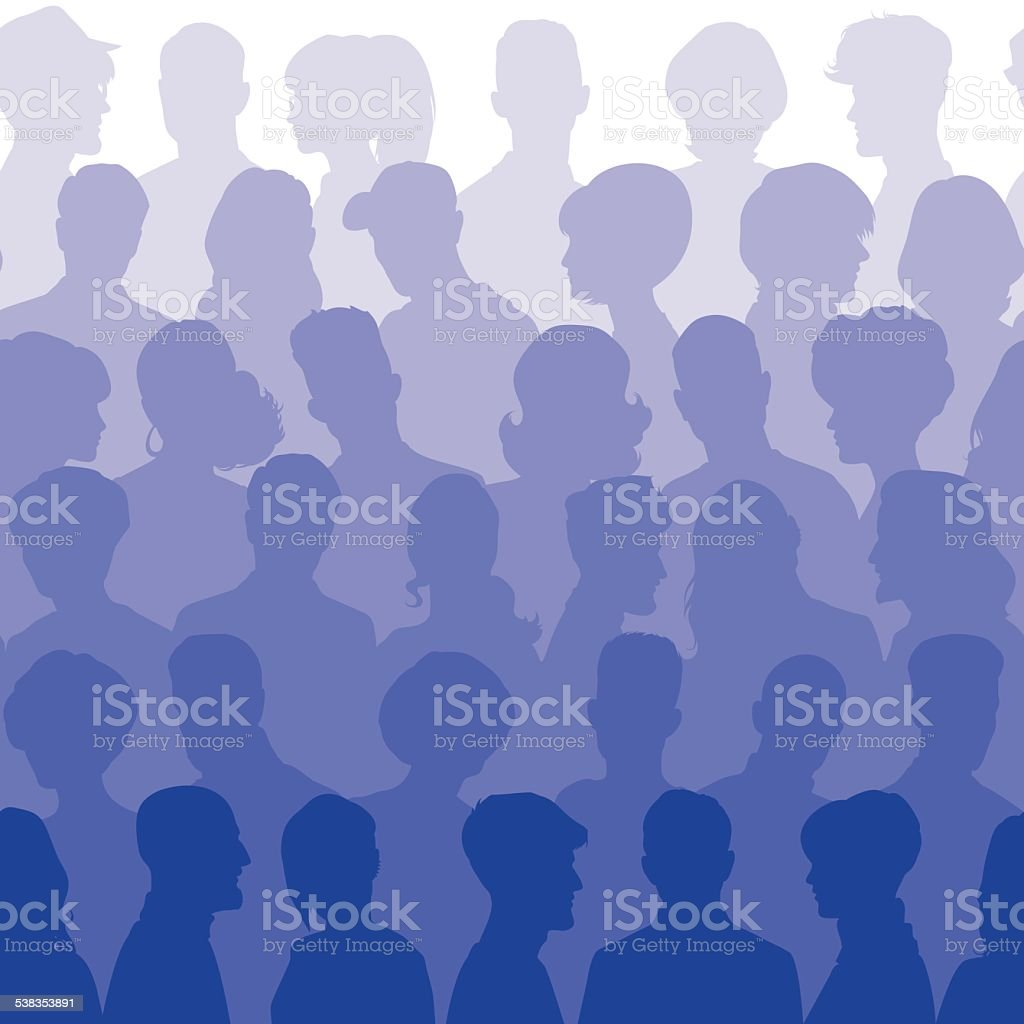 Seamless pattern of people silhouettes vector art illustration