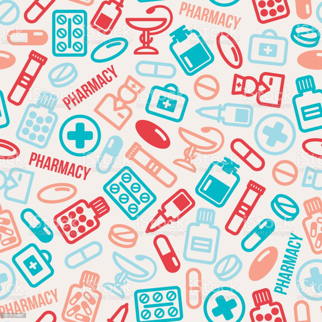 Seamless pattern of pills and capsules icons. vector art illustration