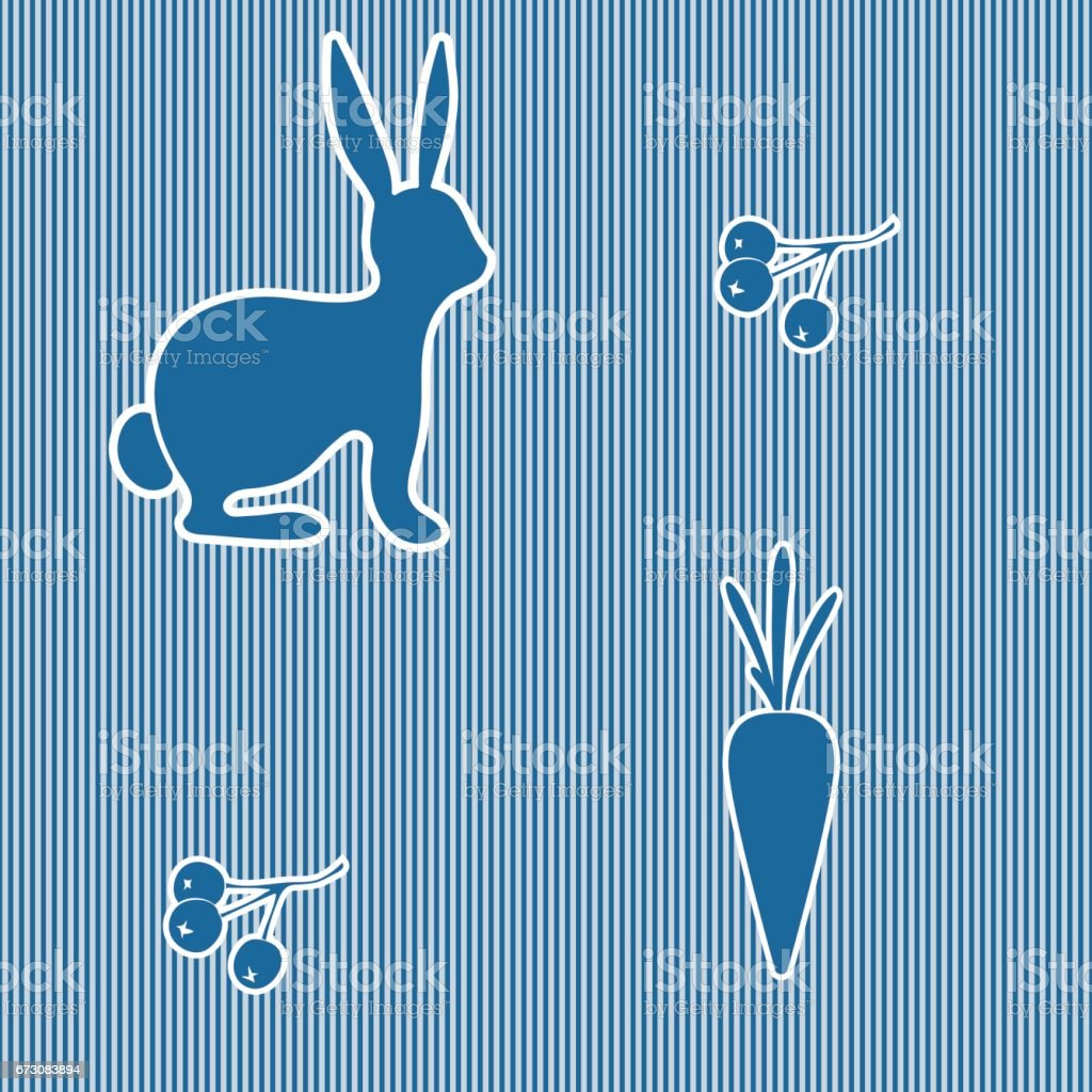 Seamless pattern of rabbit, berries and carrot. Silhouettes. Striped background. vector art illustration