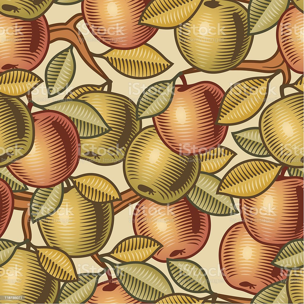 Seamless pattern of red and green apples vector art illustration