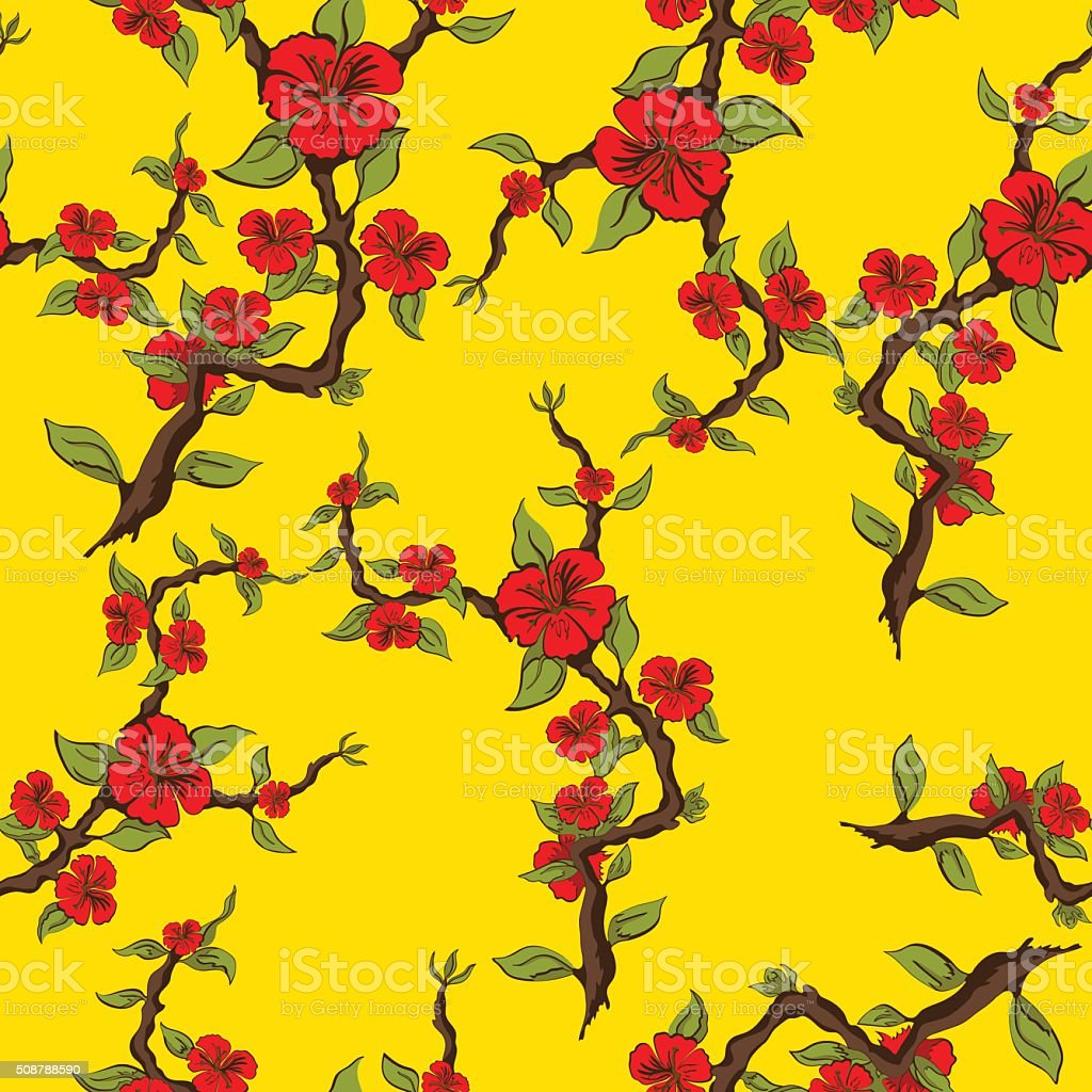 Seamless pattern of red flowers on a yellow background royalty-free stock vector art