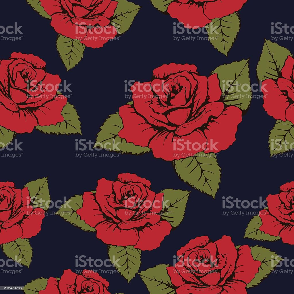Seamless pattern of red flowers roses, texture. Red buds, petals royalty-free stock vector art