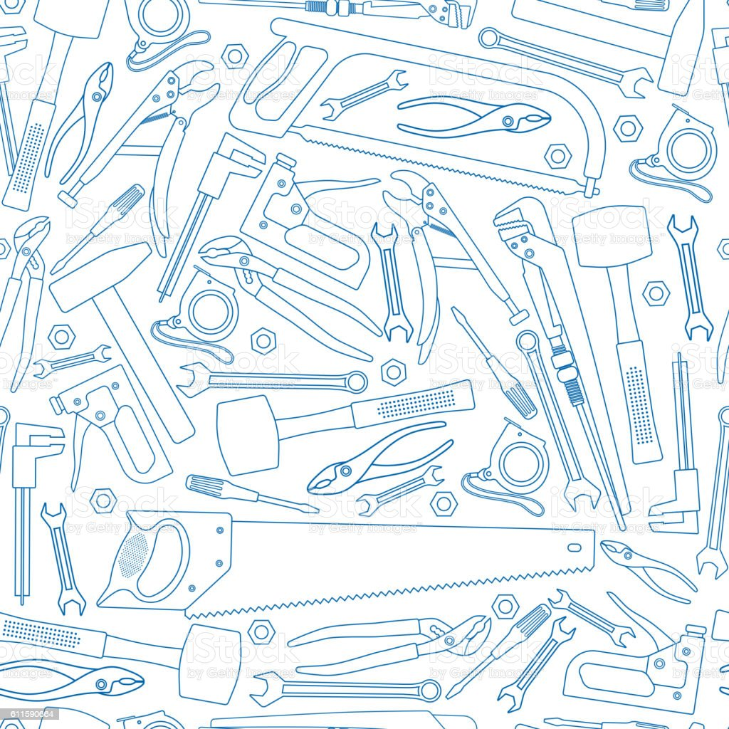 Seamless pattern of repair tools icons vector art illustration