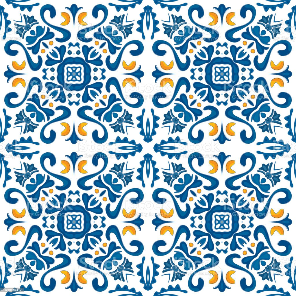 Seamless pattern of repetitive Portuguese tiles royalty-free stock vector art