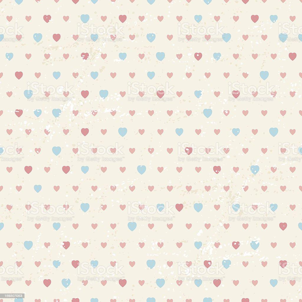 Seamless pattern of retro Valentine hearts royalty-free stock vector art