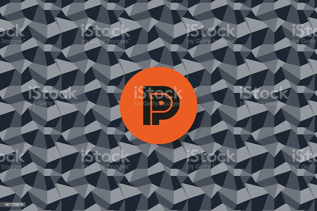 Seamless pattern of rhombus with logo letter p vector art illustration