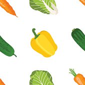Seamless pattern of ripe vegetables from the garden. flat style.