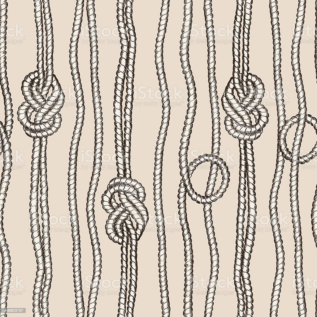 Seamless pattern of ropes with marine knots vector art illustration