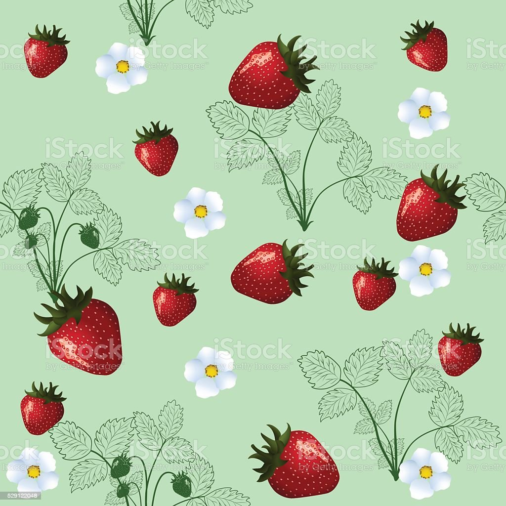 seamless pattern of silhouette strawberry vector art illustration