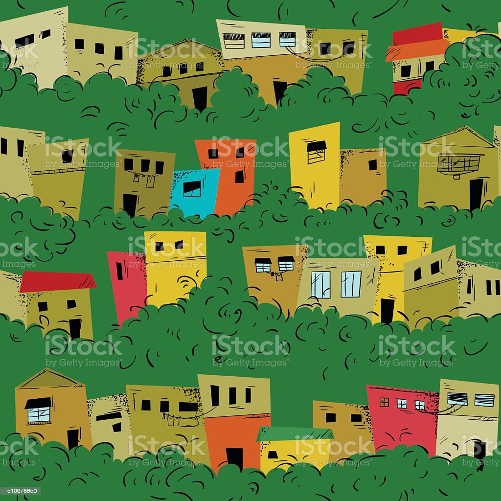 Seamless pattern of slum city vector art illustration