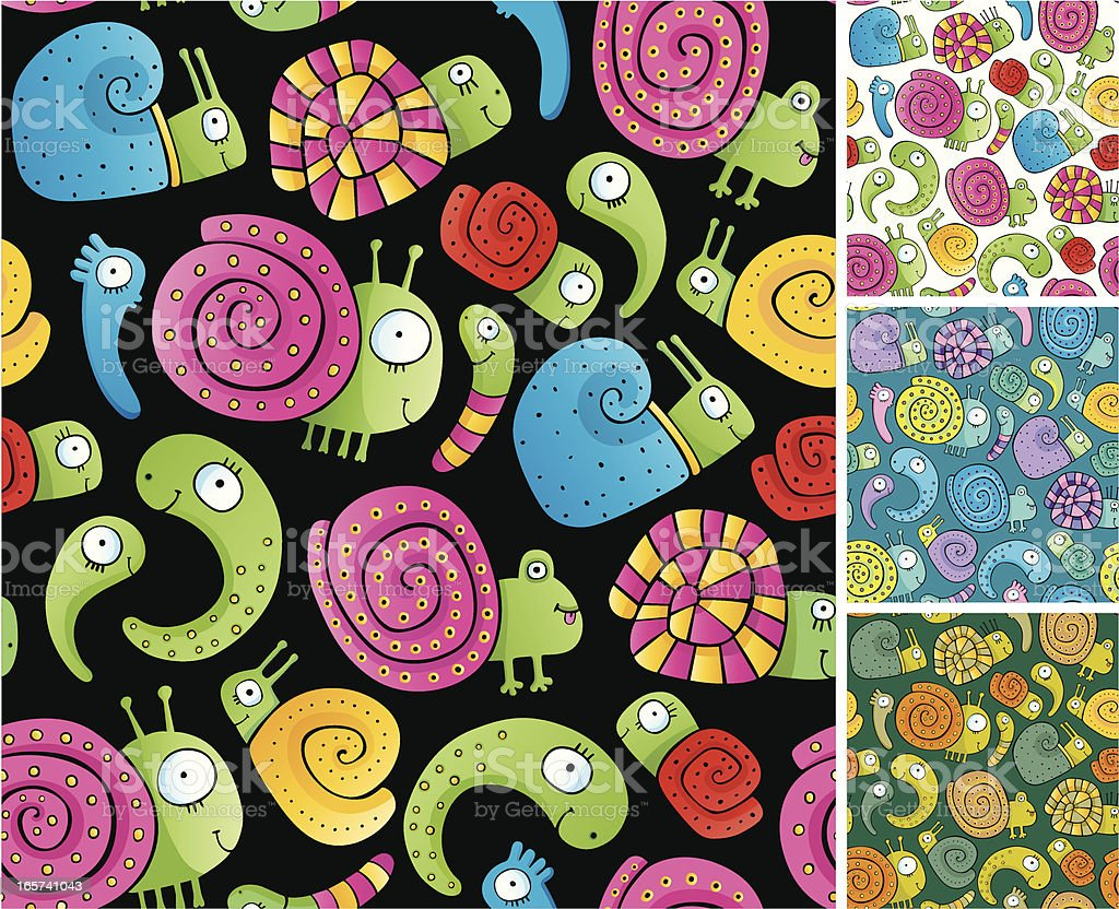 Seamless pattern of snails and shellfishes royalty-free stock vector art