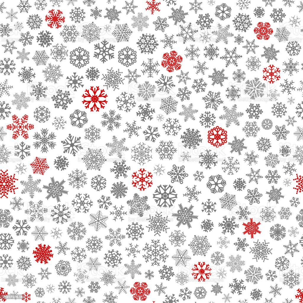 Seamless pattern of snowflakes, red and gray on white vector art illustration