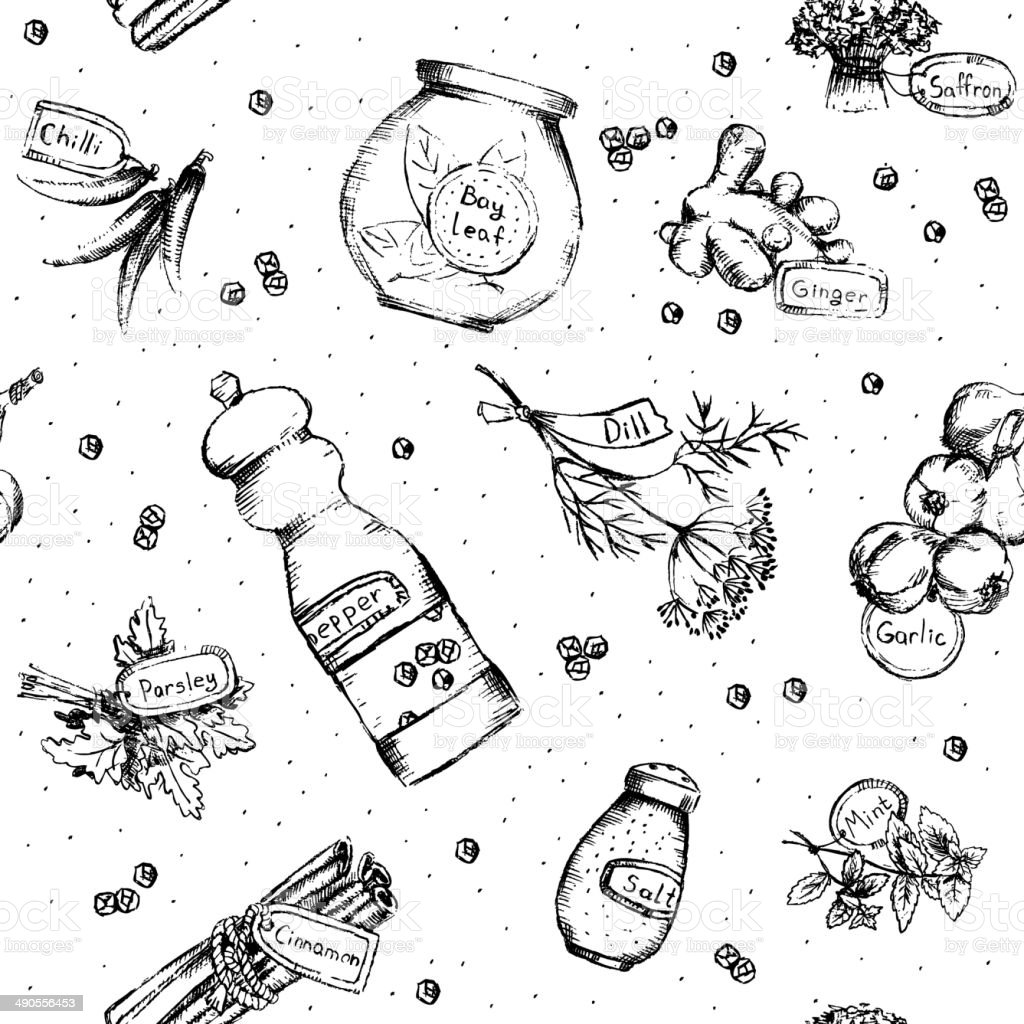 Seamless pattern of spices and herbs vector art illustration