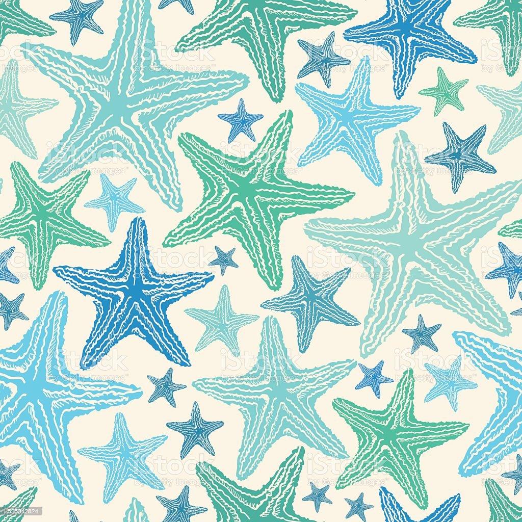 Seamless Pattern Of Starfish. vector art illustration