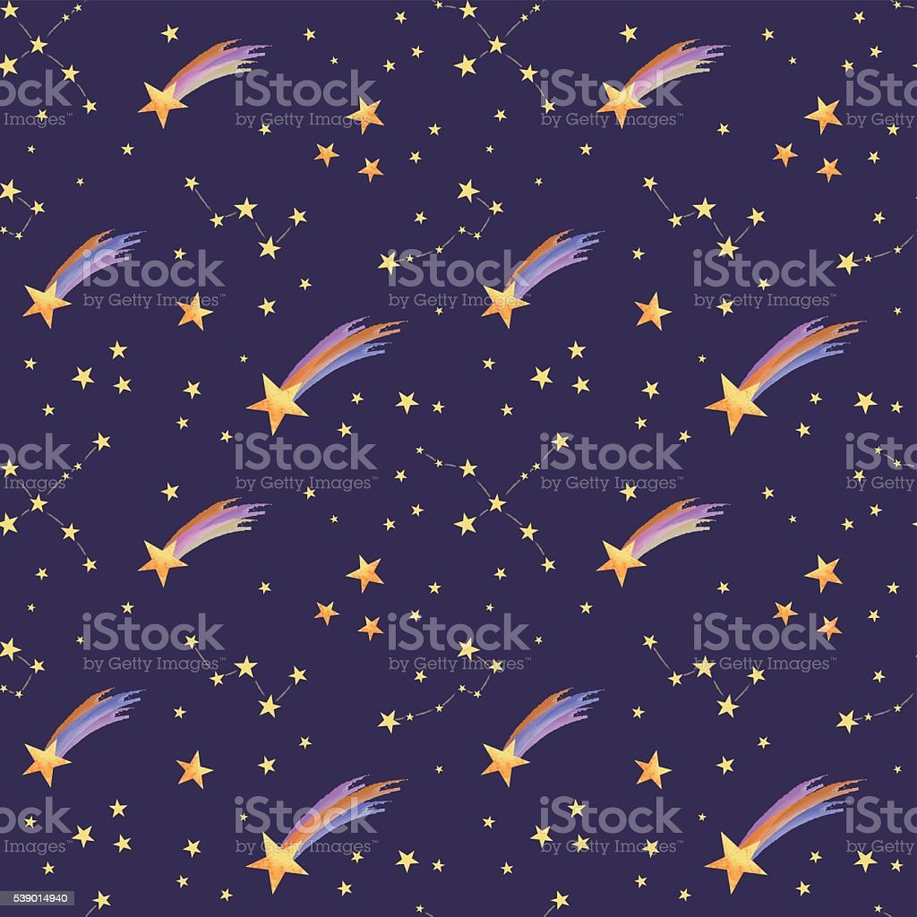 seamless pattern of stary sky vector art illustration