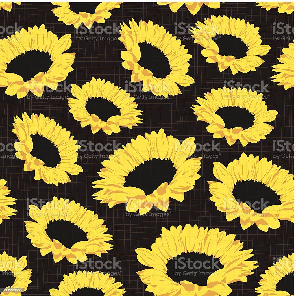 Seamless pattern of sunflowers vector art illustration