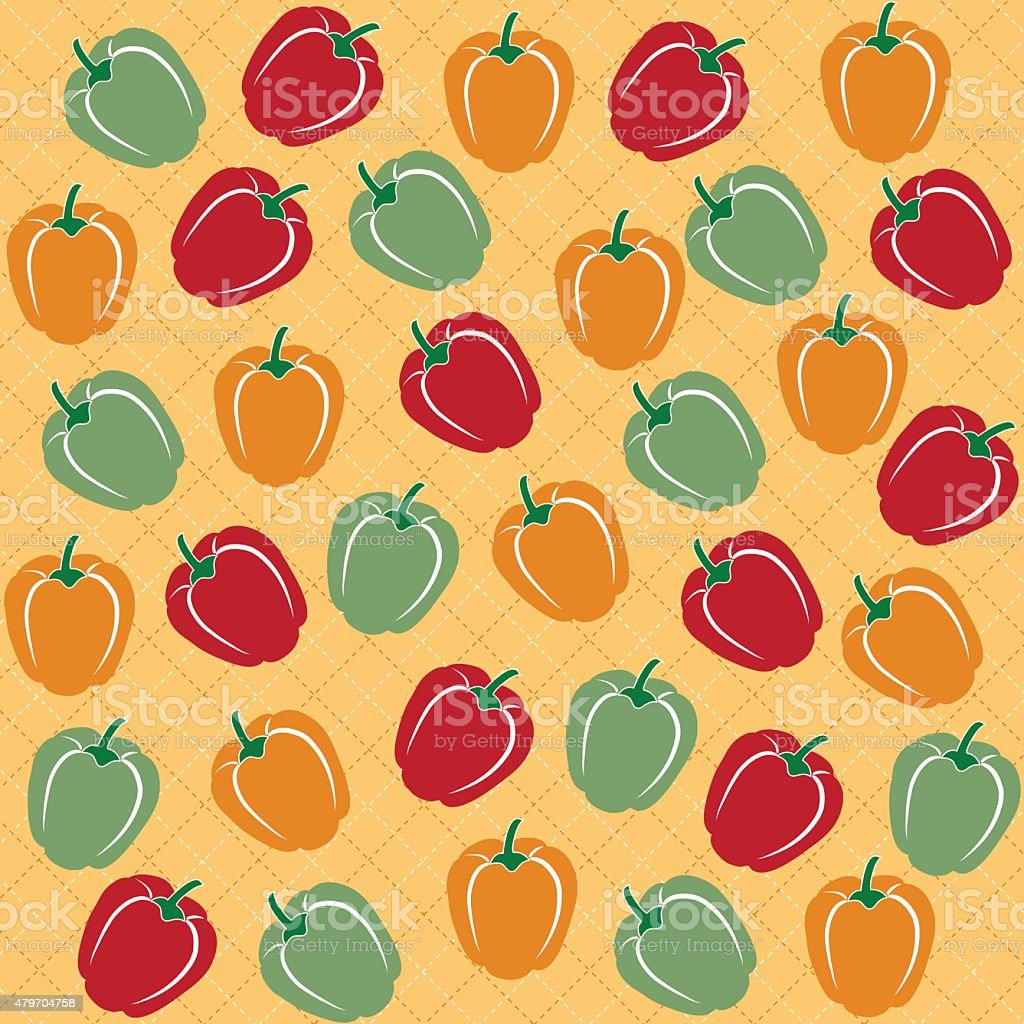Seamless pattern of sweet peppers of different colors vector art illustration