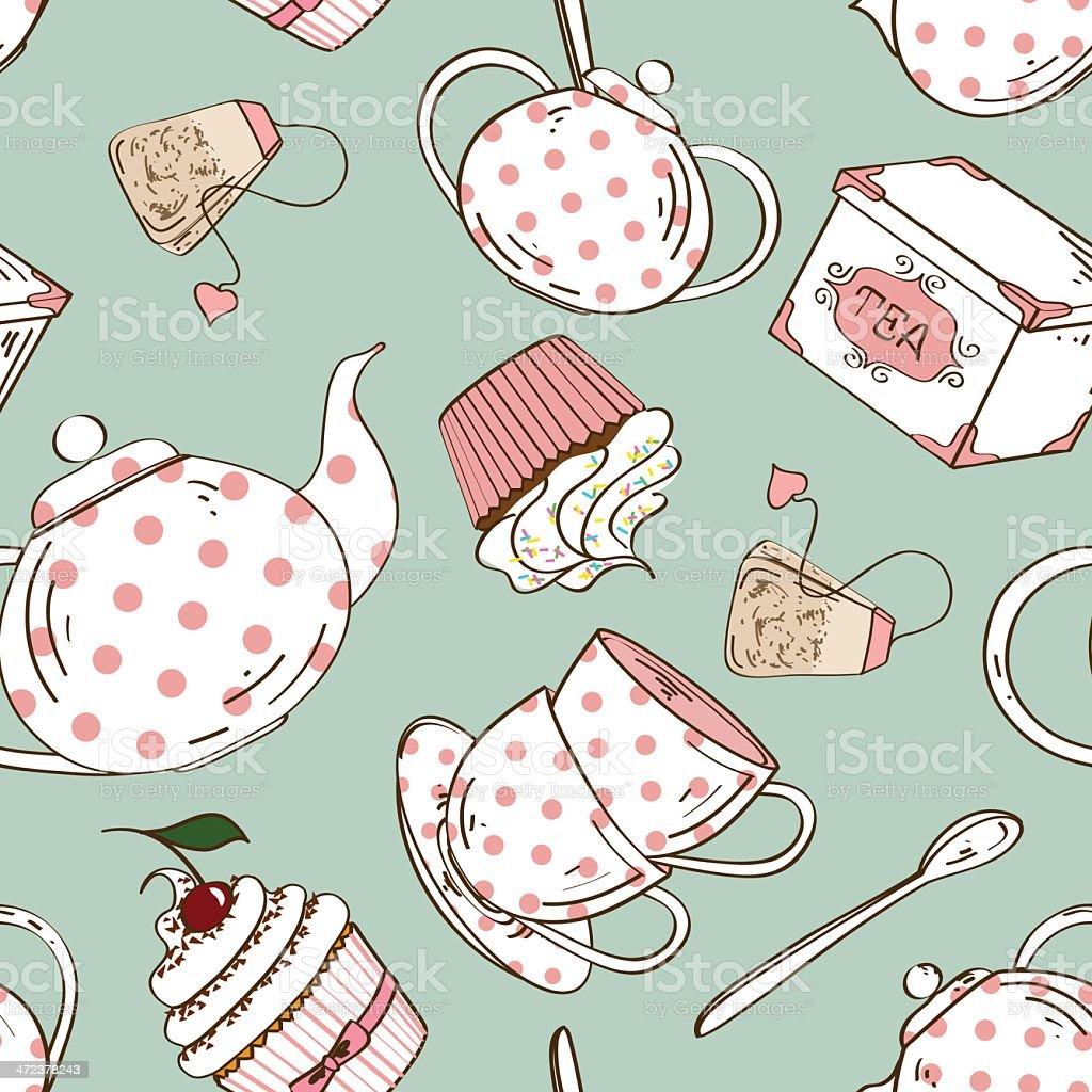 Seamless pattern of tea set and cupcakes vector art illustration