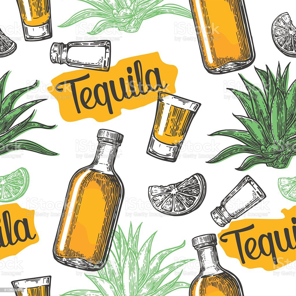 Seamless pattern of tequila glass, salt vector art illustration