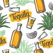 Seamless pattern of tequila glass, salt